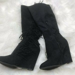 Knee High Boots Solid Black Western Fringe Style S